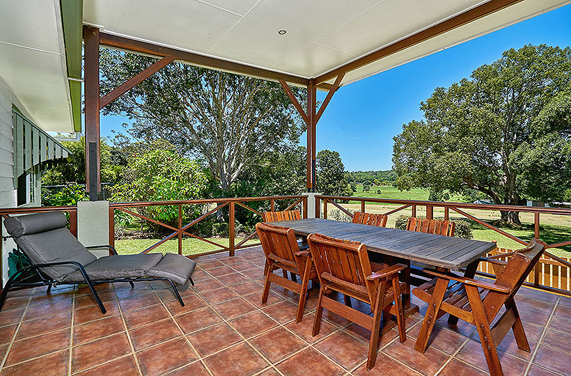 Elevated back verandah with panoramic views over the countryside